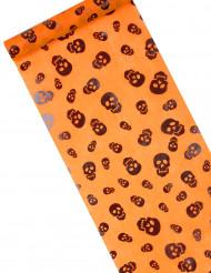 Runner da tavola in organza arancione con teschi - Halloween