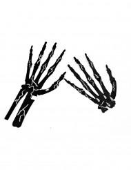 6 mani scheletro nero con gesso Halloween