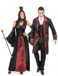 Costume coppia di vampiri rosso e nero Halloween