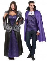 Costume di coppia vampiro viola Halloween