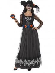 Costume da sposa vestito lungo nero donna Dia de los muertos