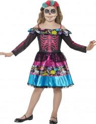 Costume da scheletro Dia de Los Muertos per bambina