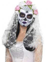 Maschera scheletro rose bianche e rosa Dia de Los Muertos adulto