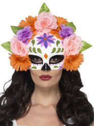 Mezza maschera rose colorate adulto Dia de los muertos