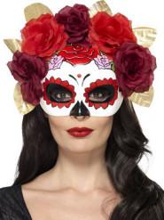 Semi maschera rose rosse Dia de Los Muertos adulto