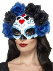 Maschera bianca con rose blu e nere Dia de Los Muertos adulto