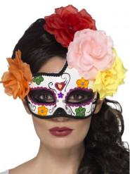 Mascherina colorata con rose colorate donna Dia de los muertos