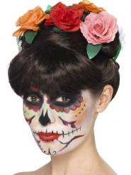 Parrucca con rose donna Dia de los muertos