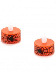 Candeline arancioni con ragnatele