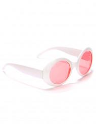 Occhiali rotondi bianchi con lenti rosa