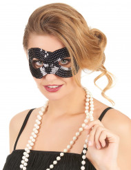 Maschera con paillettes nera arrotondata