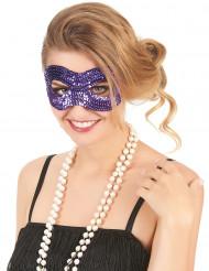 Maschera viola con paillettes arrotondata