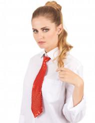 Cravatta rossa con lustrini per adulto