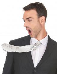 Cravatta bianca con paillettes per adulto