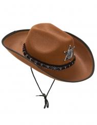 Cappello da sceriffo marrone per adulto