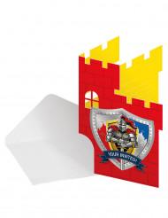 8 Cartoncini d'invito Cavaliere medievale