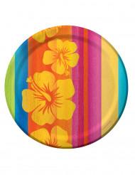 8 piatti in cartone Hawaii da 23 cm