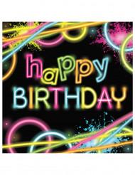 16 tovaglioli Hapy Birthday - Glow Party