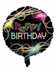 Pallone alluminio Happy birthday Fluorescente 45 cm