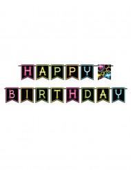 Ghirlanda di bandierine Happy Birthday Fluo