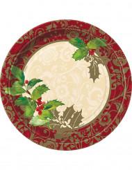 8 piatti in cartone Agrifoglio di Natale 23 cm