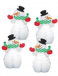 4 mini centri tavola pupazzo di neve 15 cm