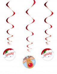 3 sospensioni spirali Babbo Natale e Renna