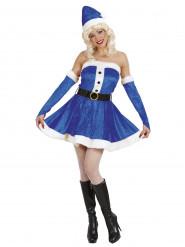 Costume da Mamma Natale blu donna