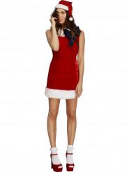 Costume natalizio rosso con fiocco nero sexy donna