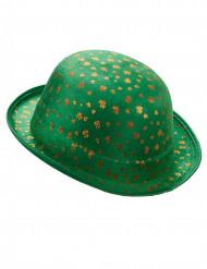 Cappello bombetta verde San Patrizio in velluto con trifogli dorati per Adulto