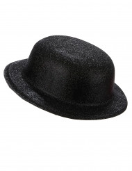 Image of Cappello bombetta in plastica con paillettes nero per Adulto