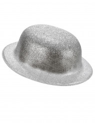 Image of Cappello bombetta in plastica con paillettes argentato per Adulto