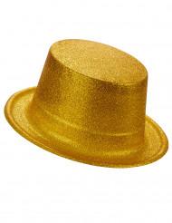 Cappello cilindro in plastica con paillettes dorato per Adulto