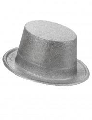 Cappello cilindro in plastica con paillettes argentato per Adulto
