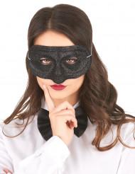 Mascherina di plastica nera con paillettes adulto