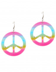 Orecchini peace & love colorati adulta