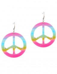 Orecchini peace & love colorati adulta
