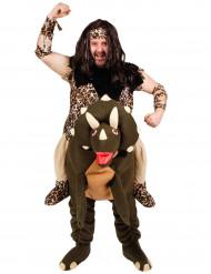 Costume da uomo preistorico su dinosauro - Premium