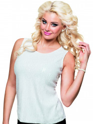 Top bianco paillettes donna