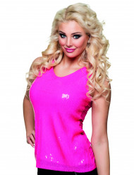 Top a pailletes rosa fluorescente donna