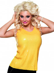 Top a paillettes giallo fluorescente da donna