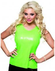 Top a paillettes verde fluorescente donna