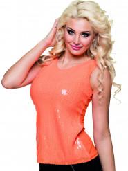 Top a paillettes arancione fluo donna