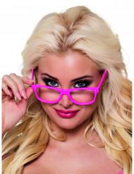 4 occhiali rosa fluo adulti
