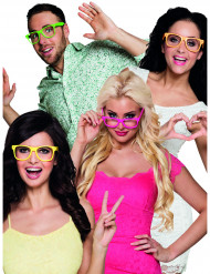 4 occhiali fluo adulto