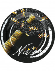 8 piatti Happy New Year nero e dorato 23 cm