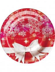 8 piatti in cartone Fiocco di Natale