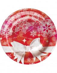 8 piattini in cartone Fiocco di Natale 18 cm