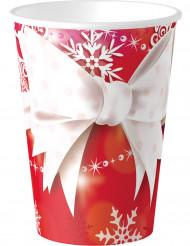 8 bicchieri in cartone Fiocco di Natale 250 ml