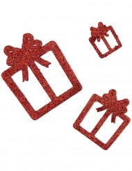 6 decorazioni regali rossi a paillette